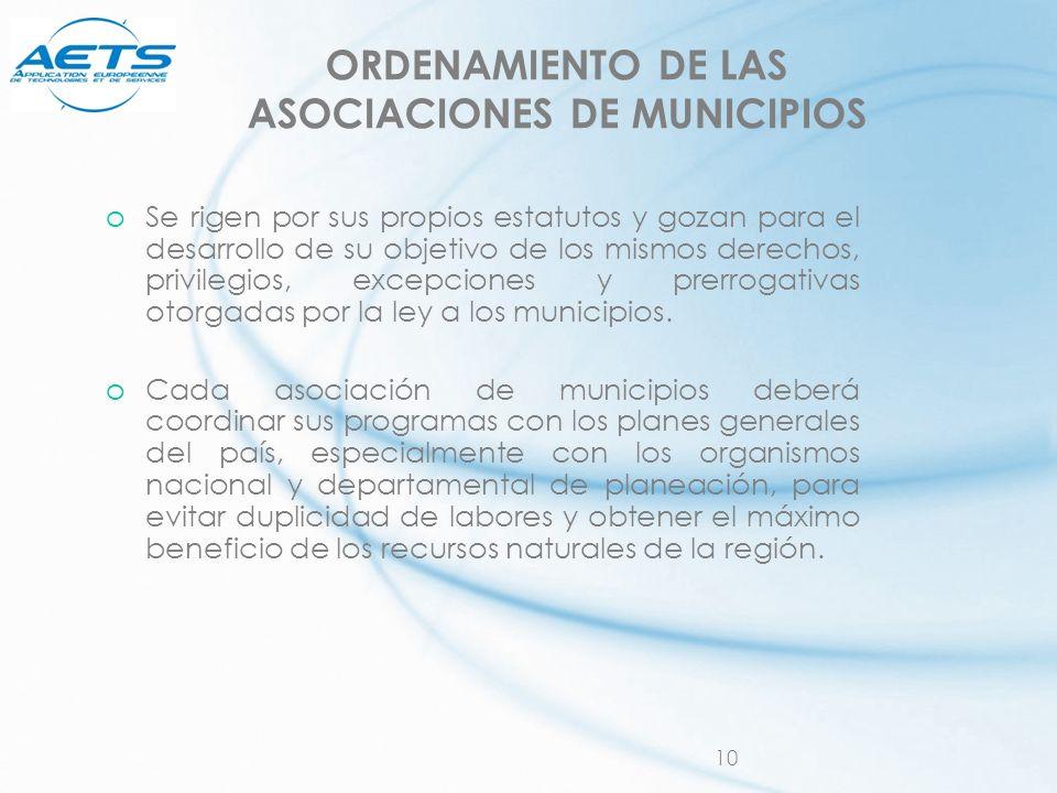 ORDENAMIENTO DE LAS ASOCIACIONES DE MUNICIPIOS