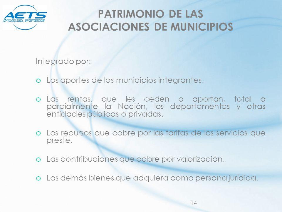 PATRIMONIO DE LAS ASOCIACIONES DE MUNICIPIOS
