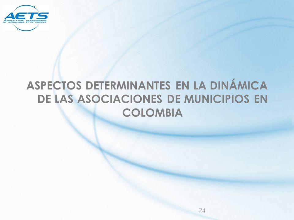ASPECTOS DETERMINANTES EN LA DINÁMICA DE LAS ASOCIACIONES DE MUNICIPIOS EN COLOMBIA