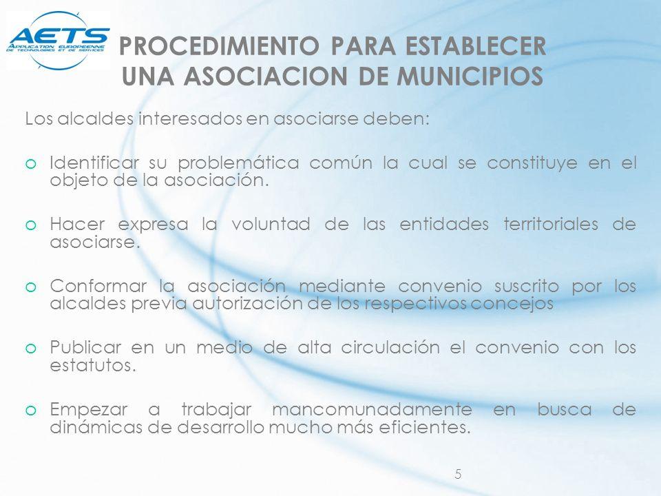 PROCEDIMIENTO PARA ESTABLECER UNA ASOCIACION DE MUNICIPIOS