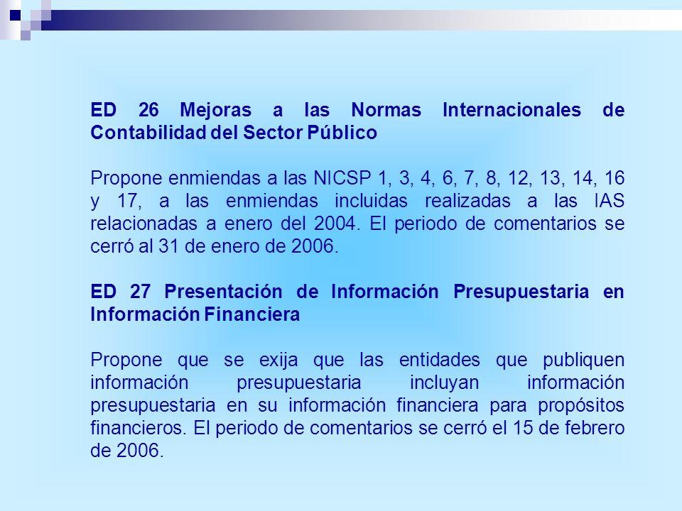 ED 26 Mejoras a las Normas Internacionales de Contabilidad del Sector Público