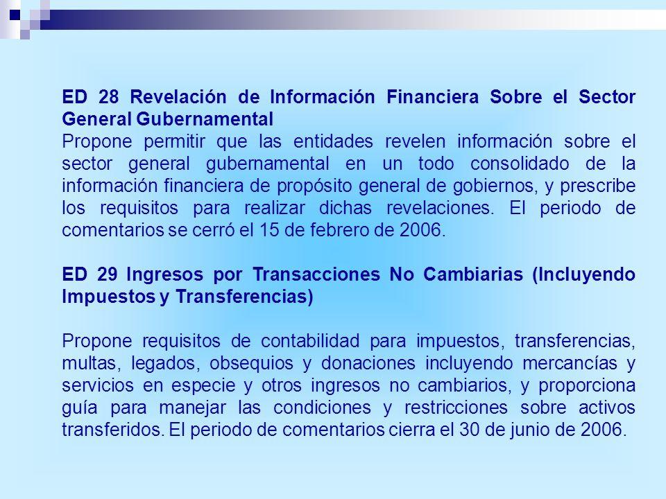 ED 28 Revelación de Información Financiera Sobre el Sector General Gubernamental