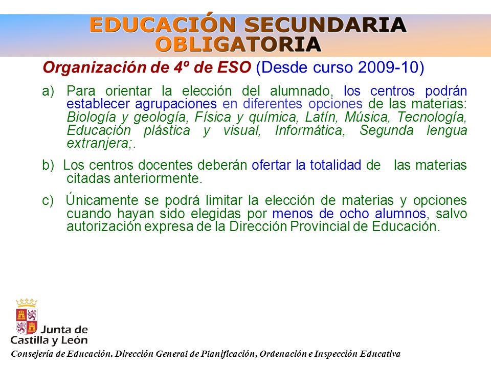 Organización de 4º de ESO (Desde curso 2009-10)