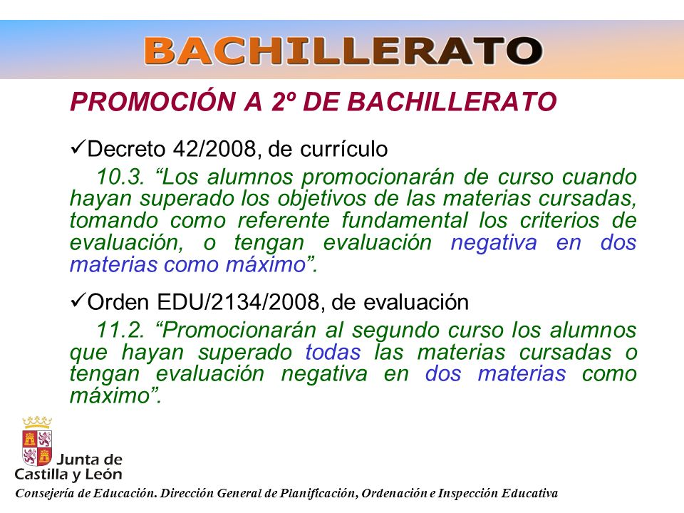 PROMOCIÓN A 2º DE BACHILLERATO