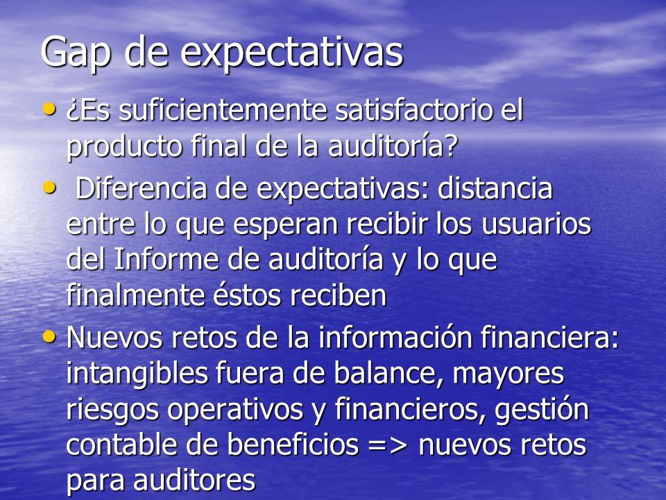 Gap de expectativas ¿Es suficientemente satisfactorio el producto final de la auditoría