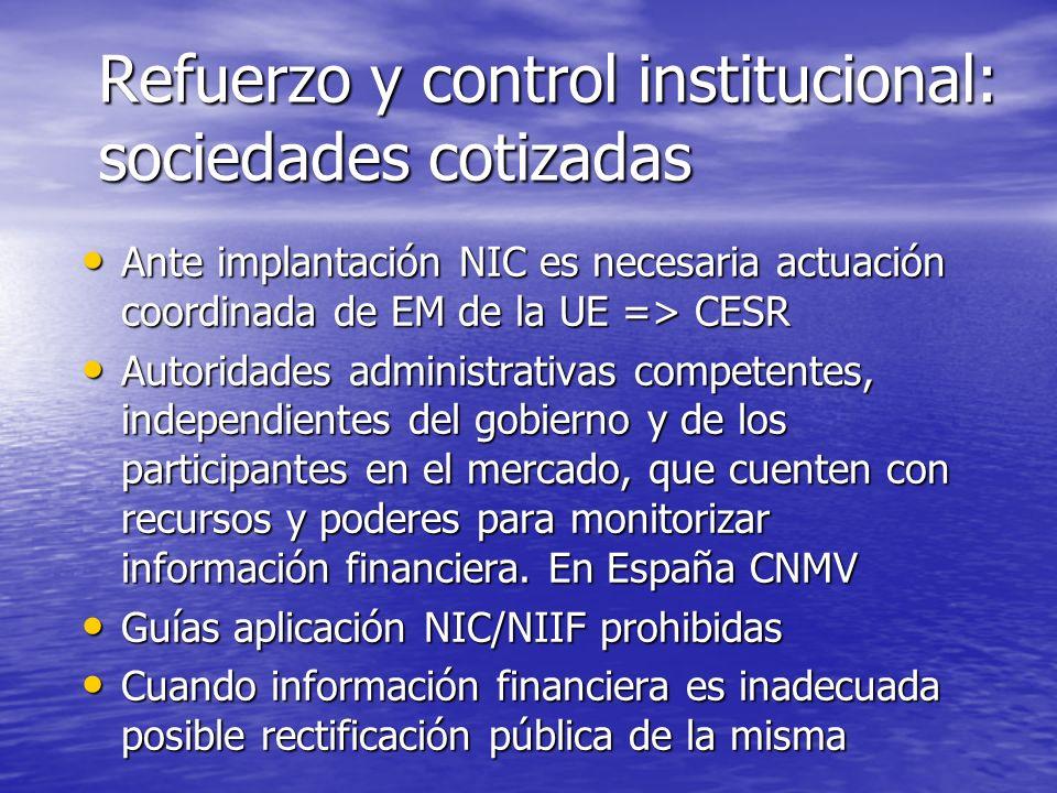 Refuerzo y control institucional: sociedades cotizadas