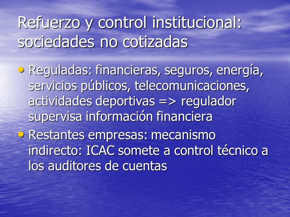 Refuerzo y control institucional: sociedades no cotizadas