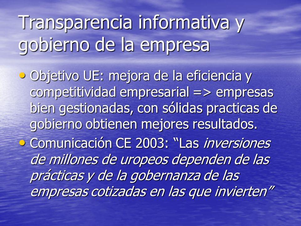 Transparencia informativa y gobierno de la empresa