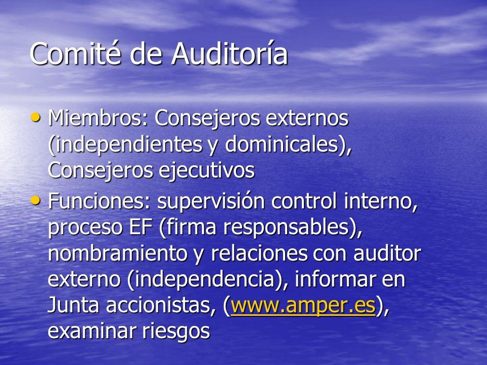 Comité de Auditoría Miembros: Consejeros externos (independientes y dominicales), Consejeros ejecutivos.