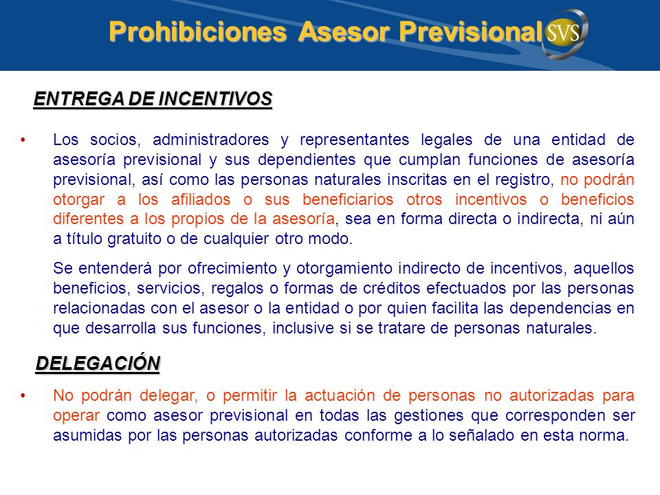 Prohibiciones Asesor Previsional