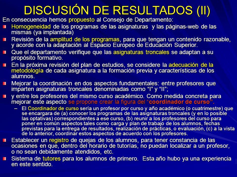 DISCUSIÓN DE RESULTADOS (II)