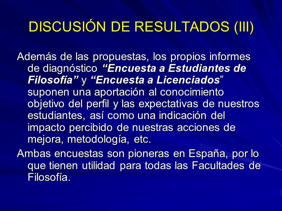 DISCUSIÓN DE RESULTADOS (III)