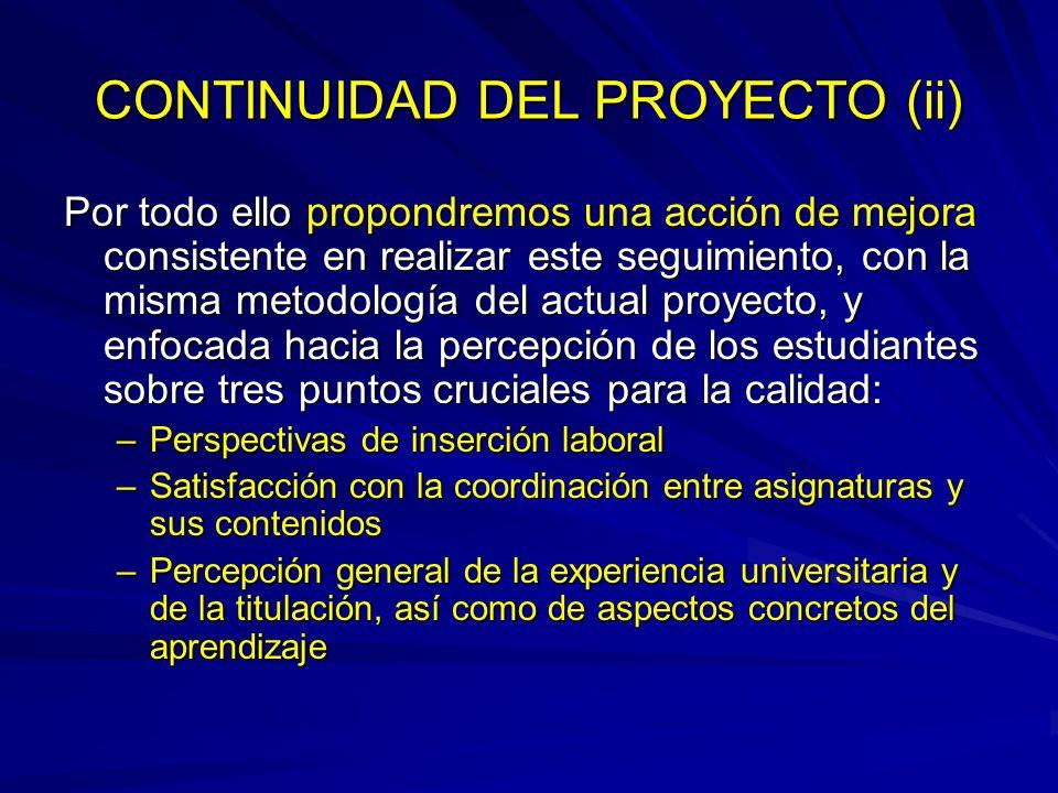 CONTINUIDAD DEL PROYECTO (ii)