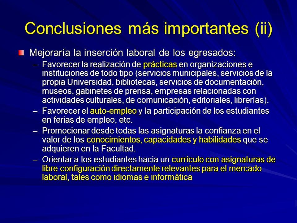 Conclusiones más importantes (ii)