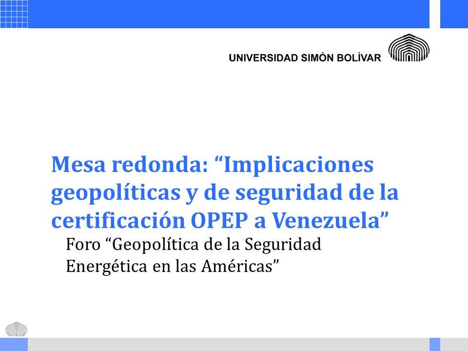 Mesa redonda: Implicaciones geopolíticas y de seguridad de la certificación OPEP a Venezuela