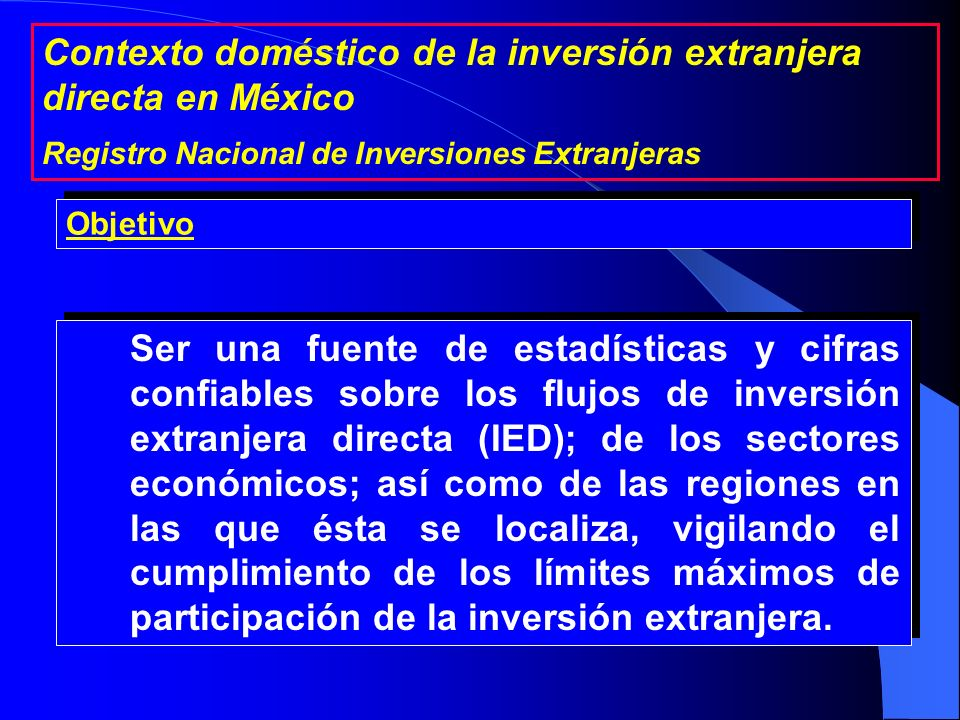 Contexto doméstico de la inversión extranjera directa en México