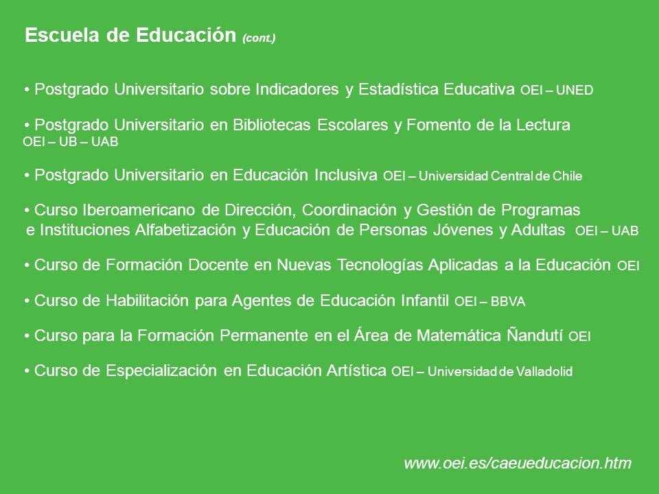 Escuela de Educación (cont.)