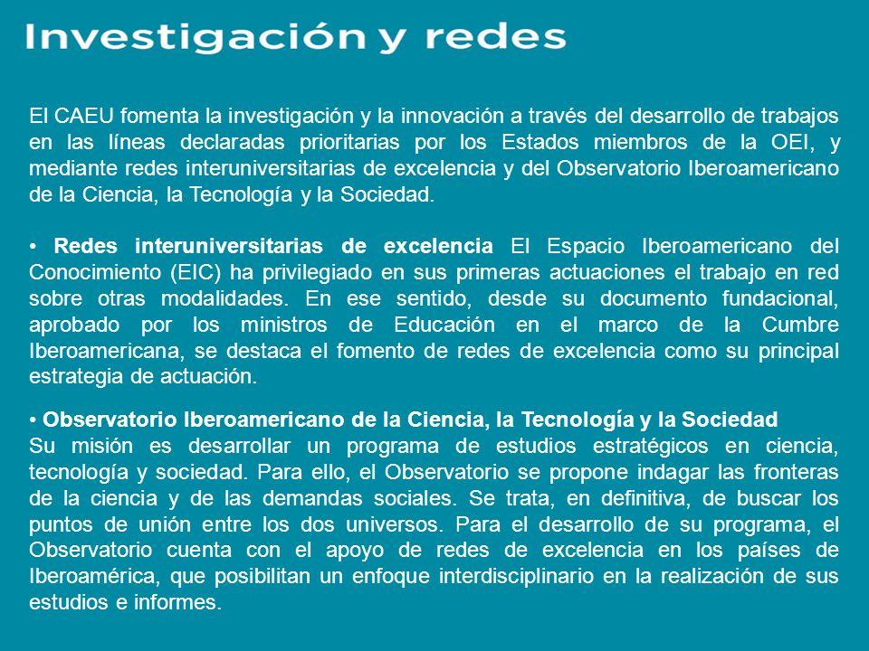 El CAEU fomenta la investigación y la innovación a través del desarrollo de trabajos en las líneas declaradas prioritarias por los Estados miembros de la OEI, y mediante redes interuniversitarias de excelencia y del Observatorio Iberoamericano de la Ciencia, la Tecnología y la Sociedad.
