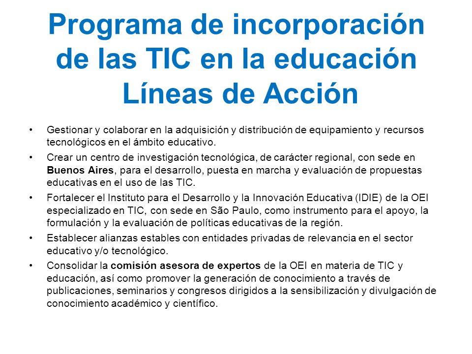 Programa de incorporación de las TIC en la educación Líneas de Acción