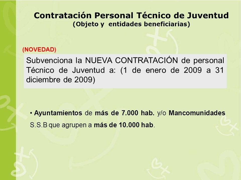 Contratación Personal Técnico de Juventud (Objeto y entidades beneficiarias)