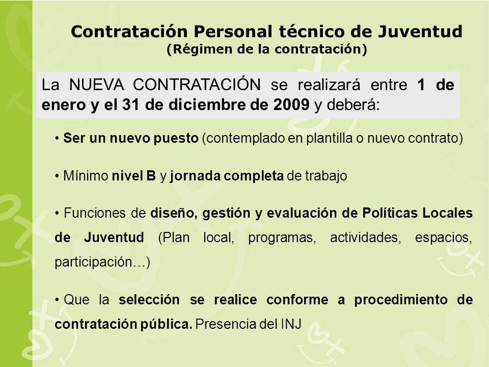 Contratación Personal técnico de Juventud (Régimen de la contratación)