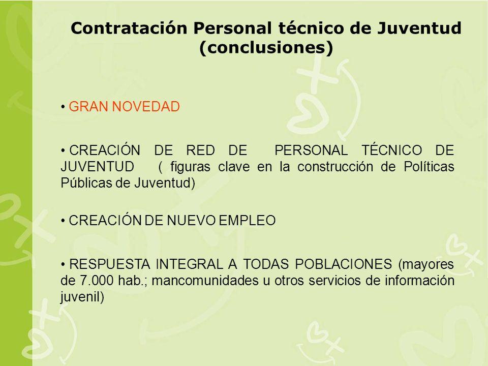 Contratación Personal técnico de Juventud (conclusiones)