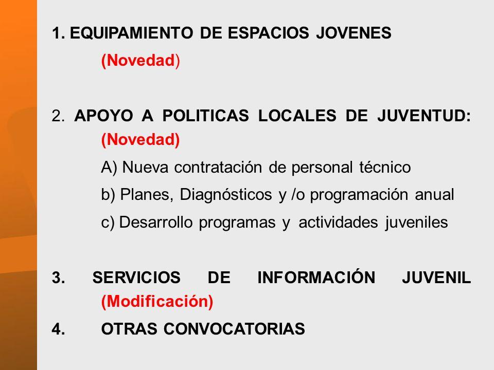 1. EQUIPAMIENTO DE ESPACIOS JOVENES