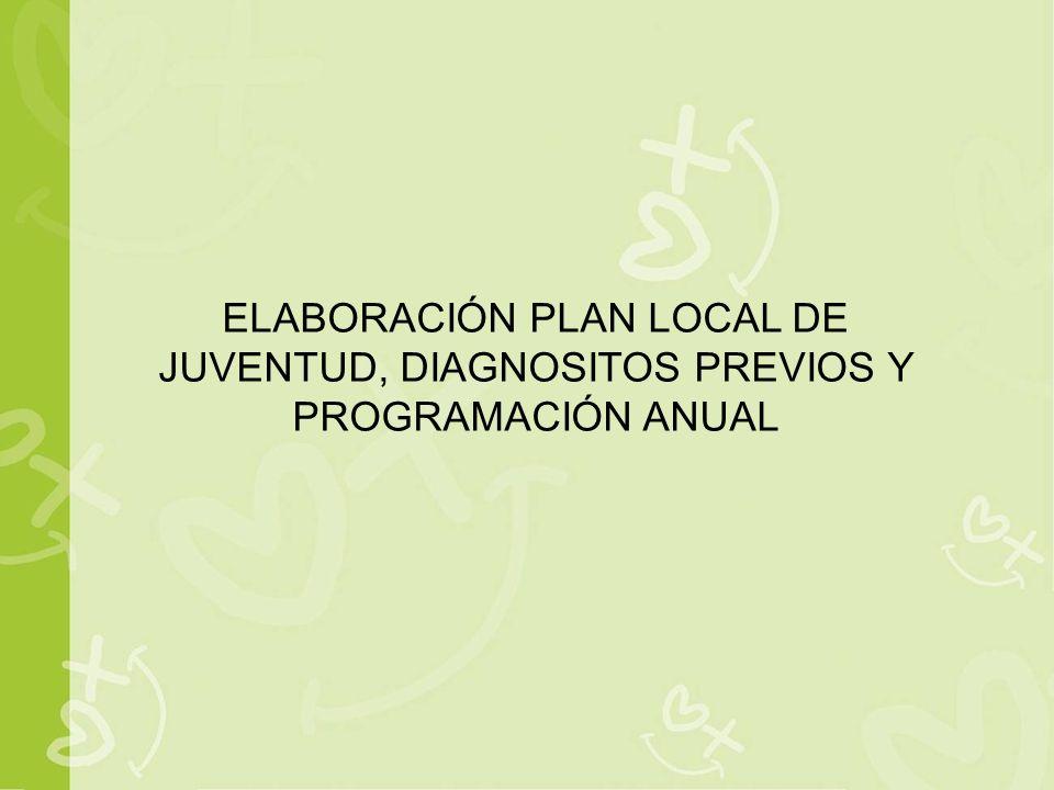 ELABORACIÓN PLAN LOCAL DE JUVENTUD, DIAGNOSITOS PREVIOS Y PROGRAMACIÓN ANUAL