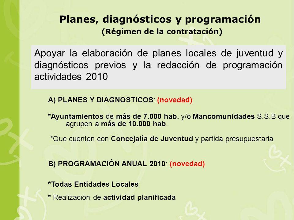 Planes, diagnósticos y programación (Régimen de la contratación)