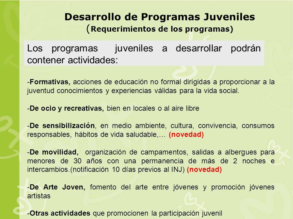 Desarrollo de Programas Juveniles (Requerimientos de los programas)