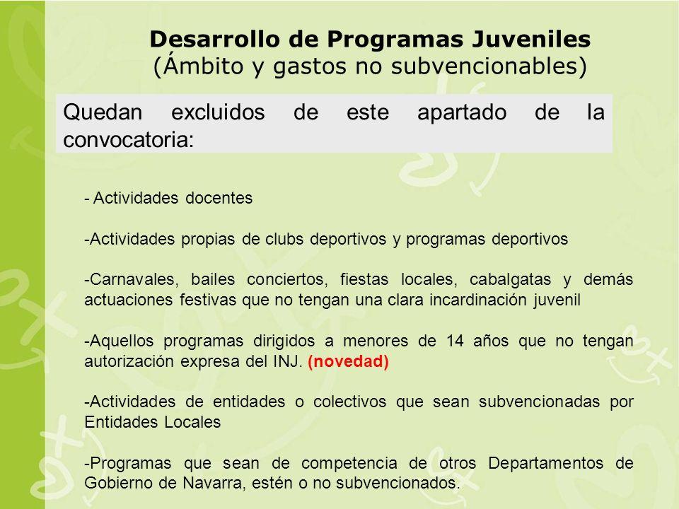 Desarrollo de Programas Juveniles (Ámbito y gastos no subvencionables)