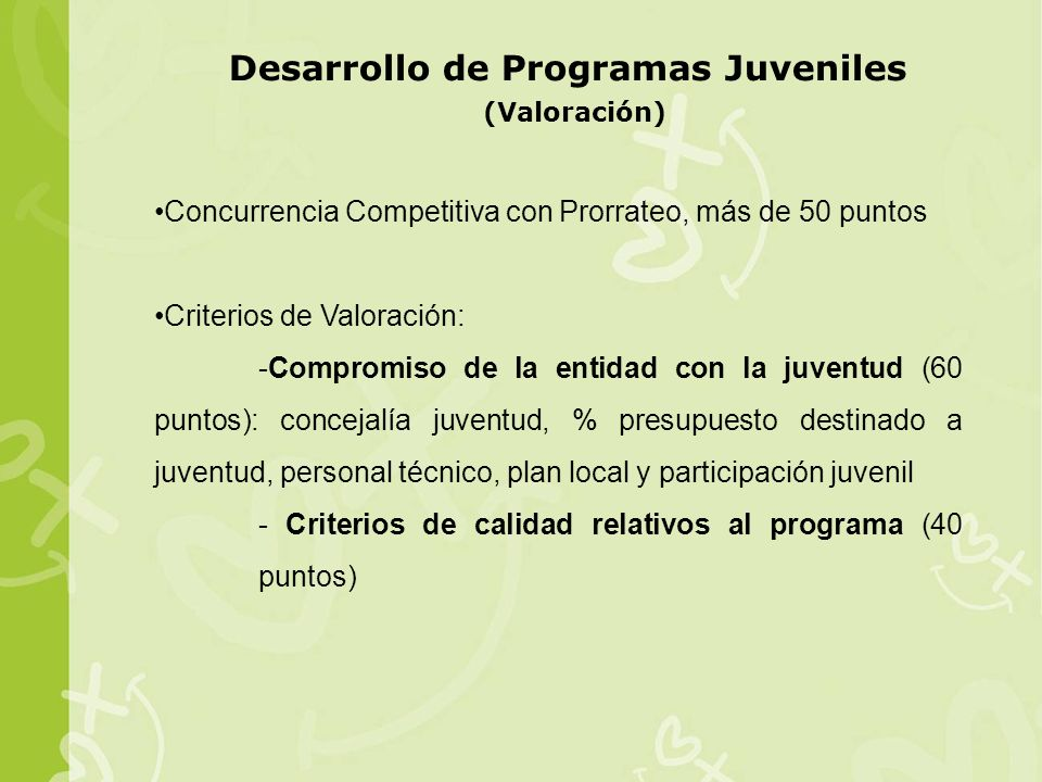 Desarrollo de Programas Juveniles (Valoración)