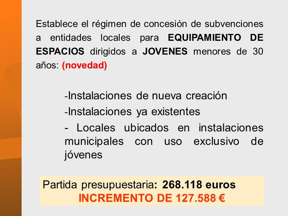Partida presupuestaria: 268.118 euros INCREMENTO DE 127.588 €