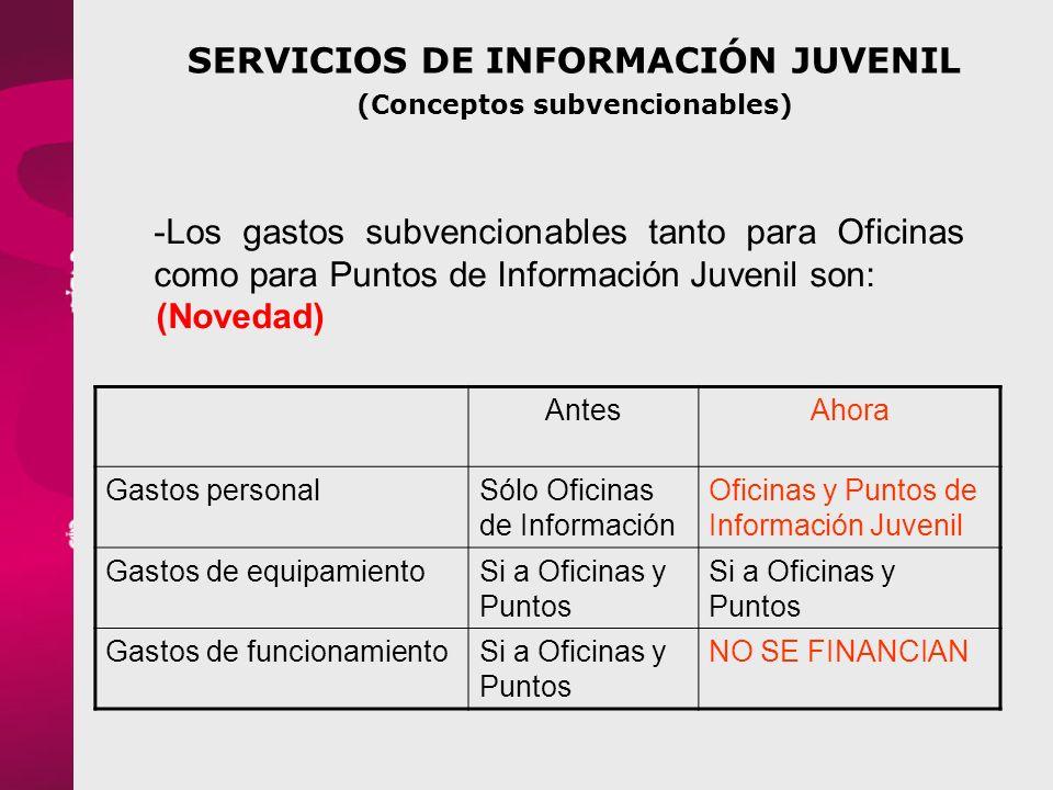 SERVICIOS DE INFORMACIÓN JUVENIL (Conceptos subvencionables)