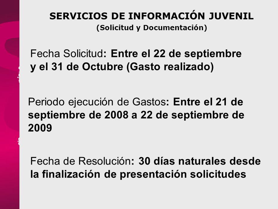 SERVICIOS DE INFORMACIÓN JUVENIL (Solicitud y Documentación)