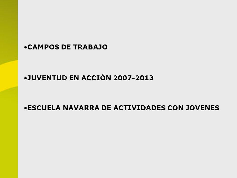 CAMPOS DE TRABAJO JUVENTUD EN ACCIÓN 2007-2013 ESCUELA NAVARRA DE ACTIVIDADES CON JOVENES