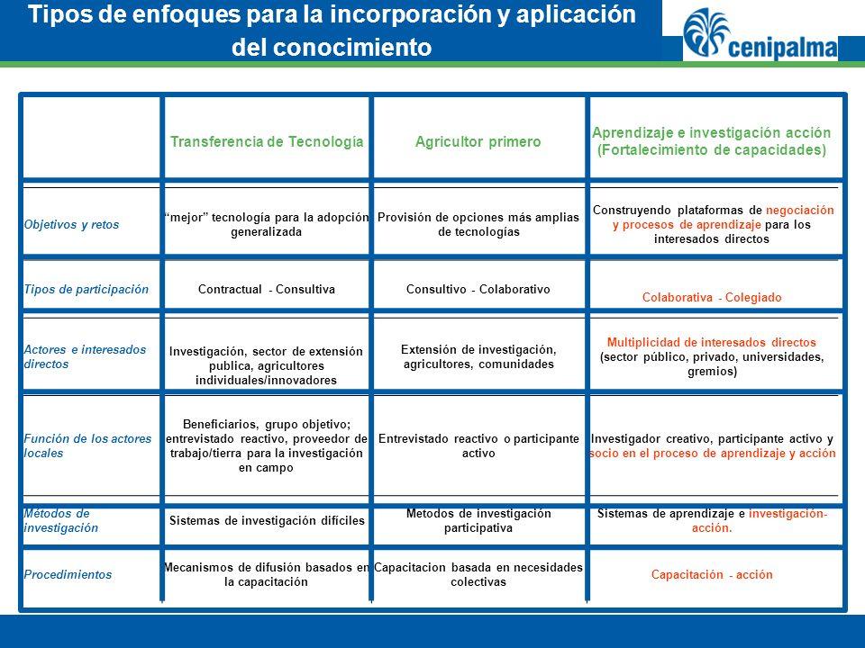 Tipos de enfoques para la incorporación y aplicación del conocimiento