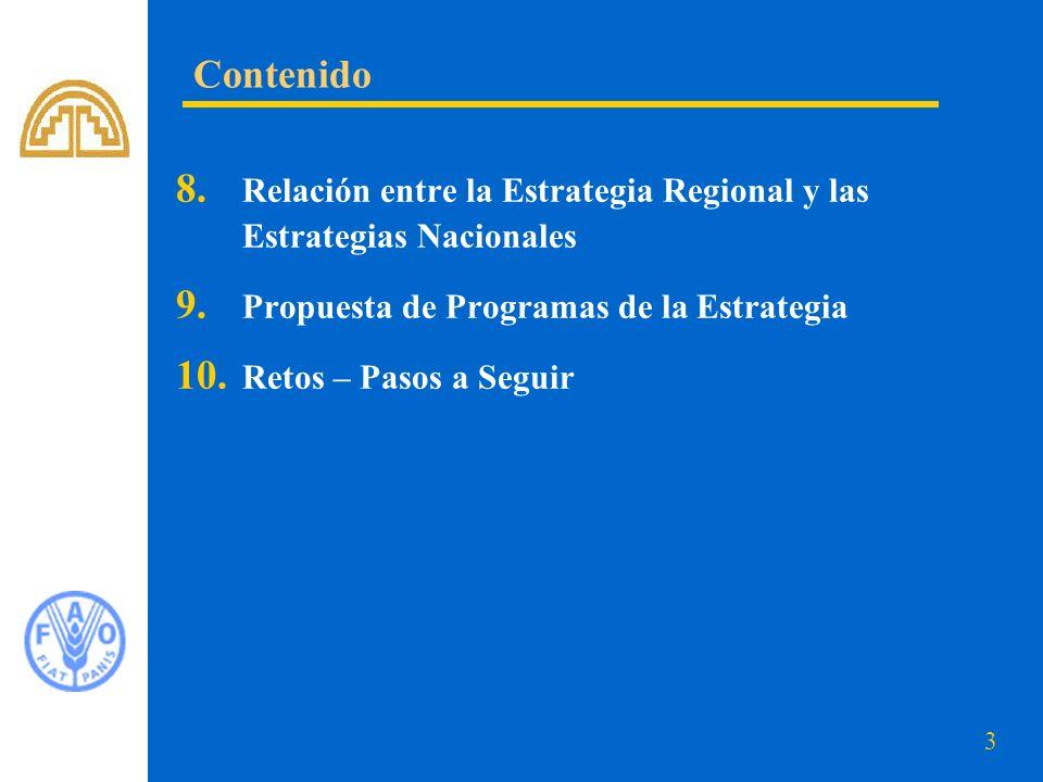 Contenido Relación entre la Estrategia Regional y las Estrategias Nacionales. Propuesta de Programas de la Estrategia.