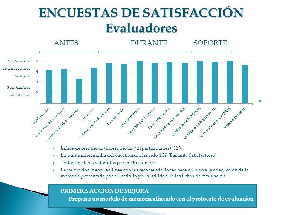 ENCUESTAS DE SATISFACCIÓN Evaluadores