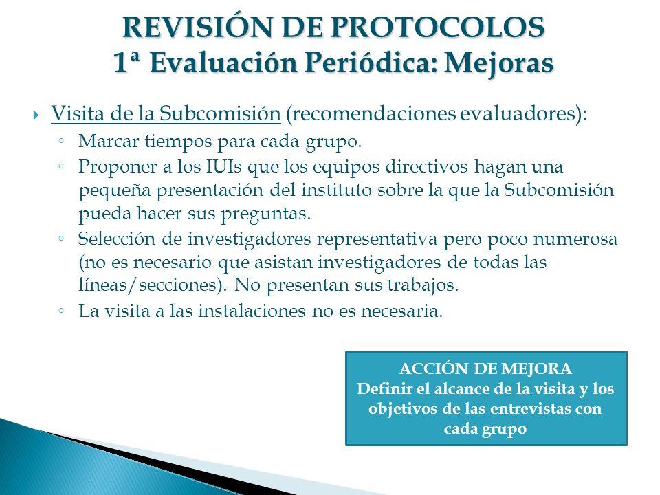 REVISIÓN DE PROTOCOLOS 1ª Evaluación Periódica: Mejoras