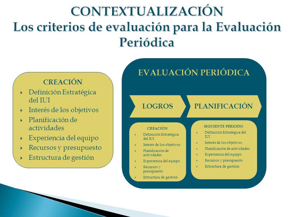CONTEXTUALIZACIÓN Los criterios de evaluación para la Evaluación Periódica
