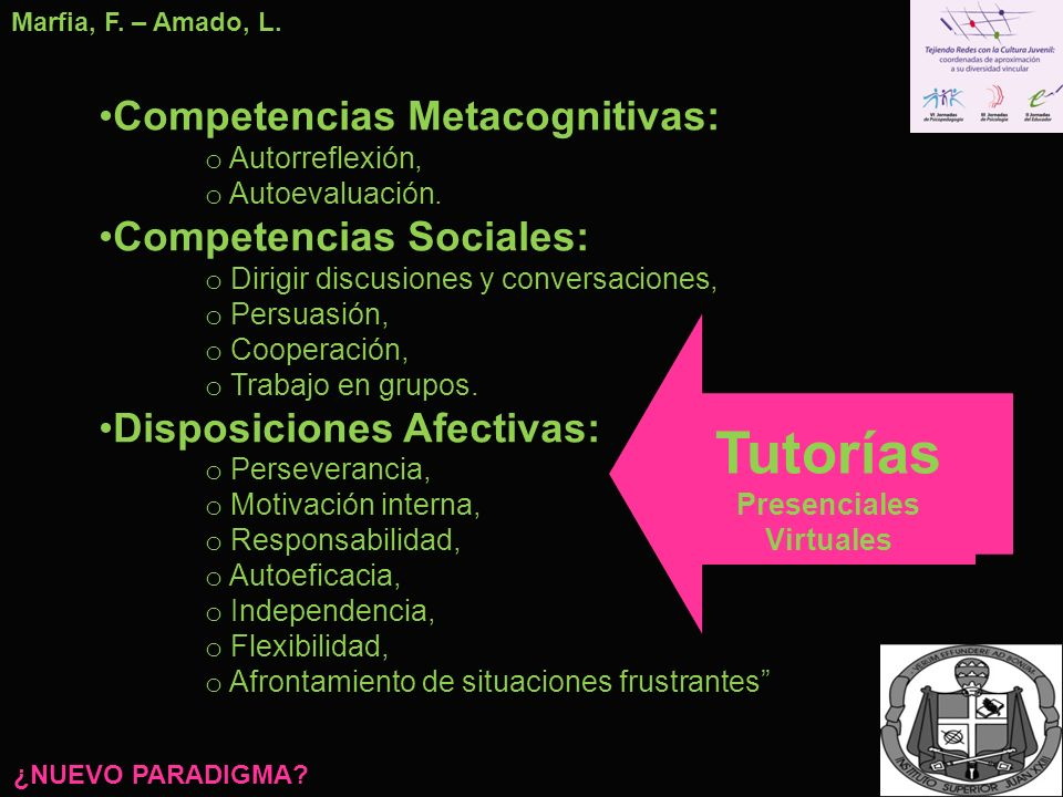 Tutorías Competencias Metacognitivas: Competencias Sociales: