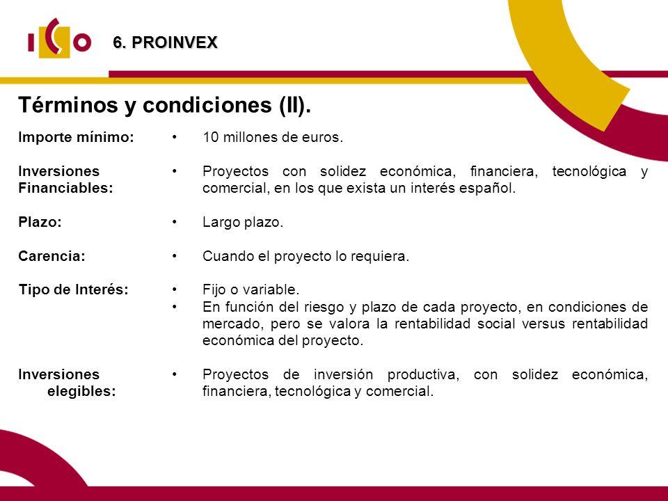 Términos y condiciones (II).