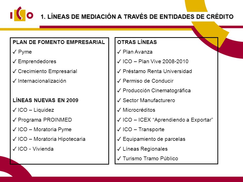 1. LÍNEAS DE MEDIACIÓN A TRAVÉS DE ENTIDADES DE CRÉDITO