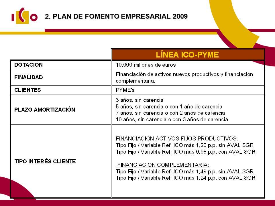 2. PLAN DE FOMENTO EMPRESARIAL 2009