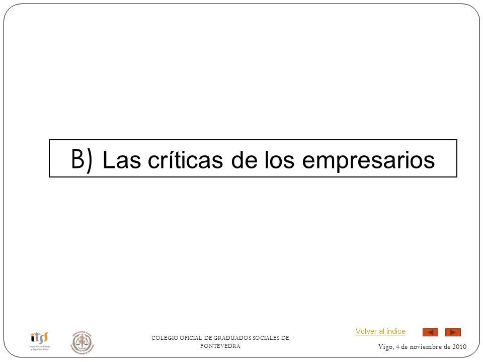 B) Las críticas de los empresarios