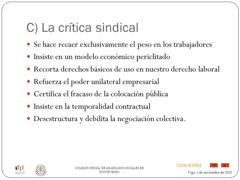 C) La crítica sindical Se hace recaer exclusivamente el peso en los trabajadores. Insiste en un modelo económico periclitado.