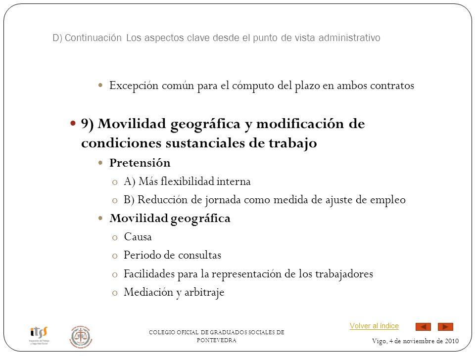 D) Continuación Los aspectos clave desde el punto de vista administrativo