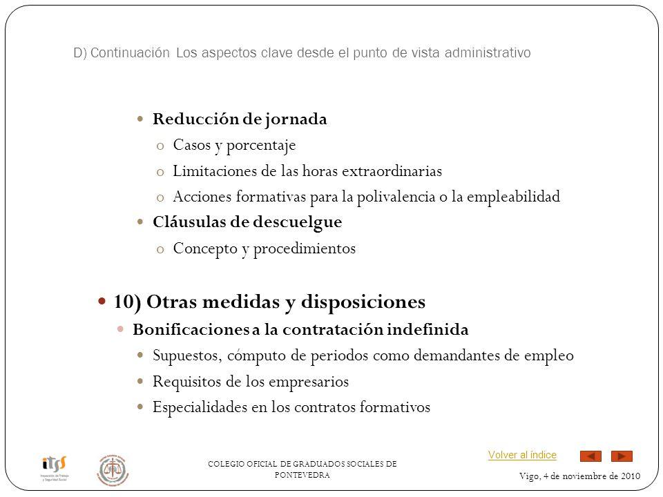 10) Otras medidas y disposiciones