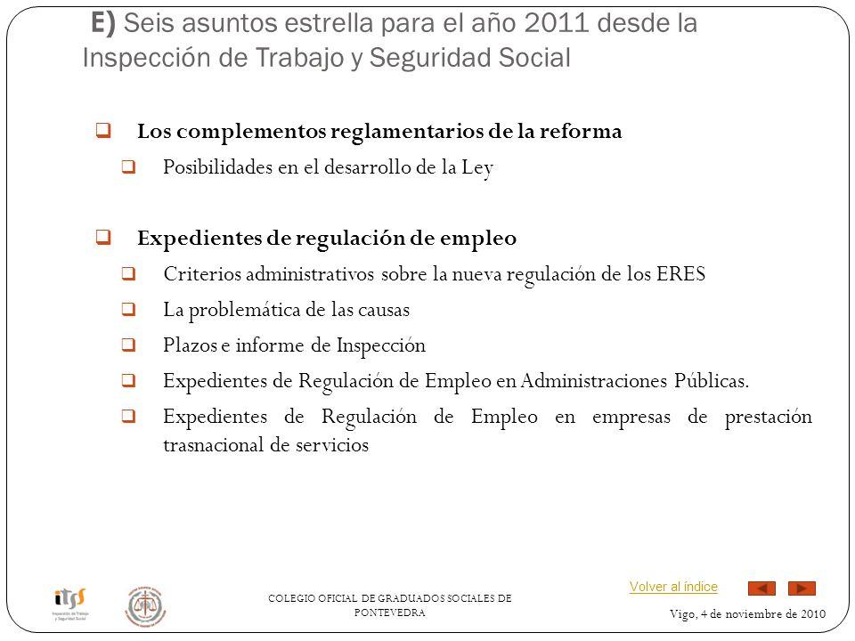 E) Seis asuntos estrella para el año 2011 desde la Inspección de Trabajo y Seguridad Social